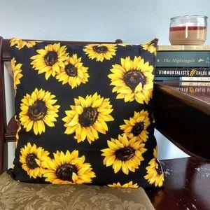 Black & Sunflowers Throw Pillow w/ Insert